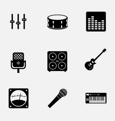 flat monochrome music gear icon set pattern ready vector image vector image