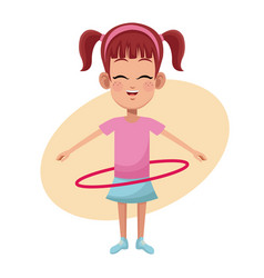 girl hula hoop practice vector image