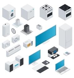 Household appliances isometric set vector image