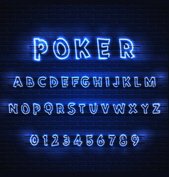 latin neon font poker glowing alphabet electric vector image