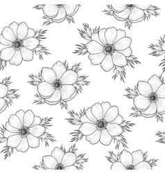 Seamless pattern with monochrome anemone vector image