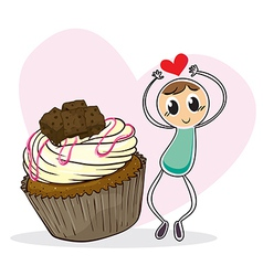 A cupcake and a sketch of a boy with a heart vector image vector image