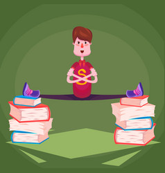 a student in a ywine on piles of thick books vector image vector image