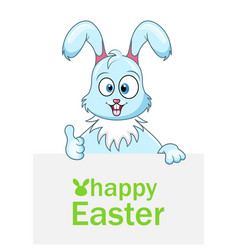 Cute rabbit with sheet of paper for happy easter vector