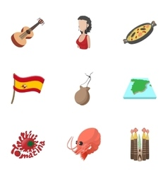 Holiday in Spain icons set cartoon style vector image vector image