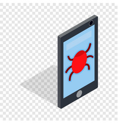 infected smartphone isometric icon vector image vector image