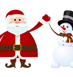 Santa Claus and snowman on a white background vector image vector image