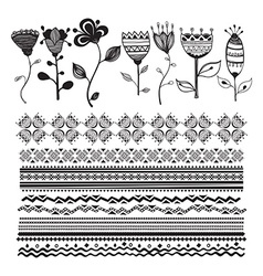 Set of floral elements for design hand-drawn line vector image