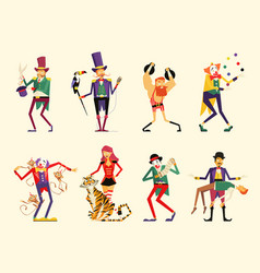cartoon circus characters circus performers set vector image