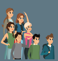 cartoon group people casual design vector image vector image