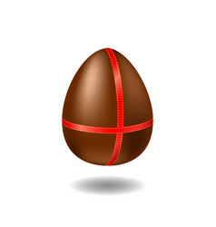 chocolate egg with ribbon and shadow happy easter vector image vector image