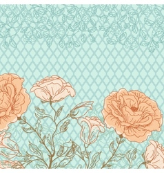 doodle rose background vector image vector image