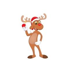 funny happy cartoon Christmas Reindeer vector image vector image