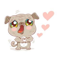 pug in kawaii style vector image vector image