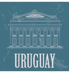 Uruguay landmarks theater solis montevideo retro vector
