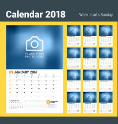 wall calendar planner for 2018 year set of 12 vector image vector image