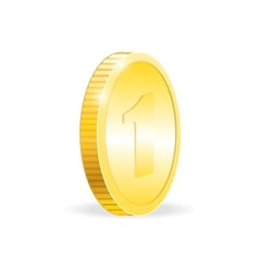 Gold coin isolated on white background vector image vector image