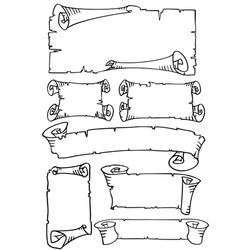 old paper scroll banners set vector image vector image