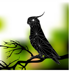 Parrot on a branch abstract silhouette of vector