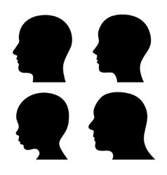 People profile head silhouettes set vector
