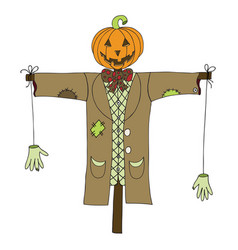 scarecrow isolated on white background vector image