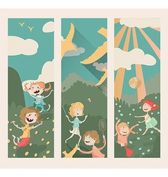 Vertical banners with kids playing outdoor sports vector image