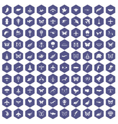 100 fly icons hexagon purple vector