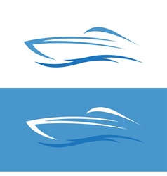 Abstract fast boat outline design template vector