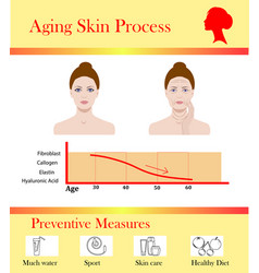 Aging skin process and preventive tipps vector