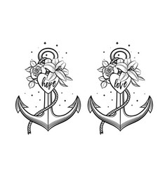 Anchor decorated with flowers heart and lettering vector