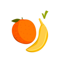 apple and banana fresh healthy food vector image