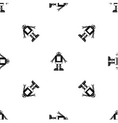 Automation machine robot pattern seamless black vector