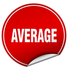 Average round red sticker isolated on white vector