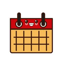 calendar event sheet kawaii cute cartoon vector image