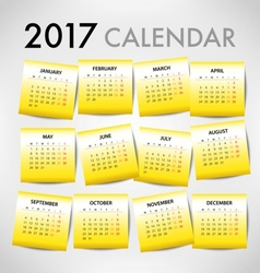 Calendar for 2017 for organization and business vector