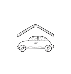 Car garage sketch icon vector