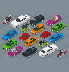 Car icons flat 3d isometric high quality city vector