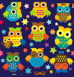cartoon owls in nighttime colorful seamless vector image