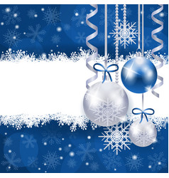 christmas background in blue and silver with copy vector image