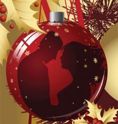 christmas ball with kissing couple vector image