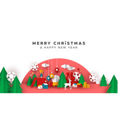 christmas new year paper holiday landscape card vector image