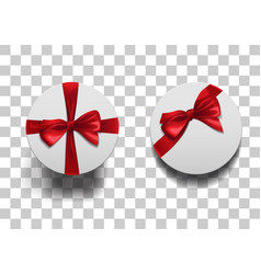Closed round boxes wiht bow set vector