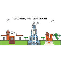 Colombia santiago de cali outline skyline vector