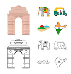 Country india cartoonoutline icons in set vector
