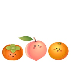 Cute fruits persimmon peach orange vector