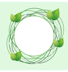 Decorative Eco frame with circles and fresh leaf vector image