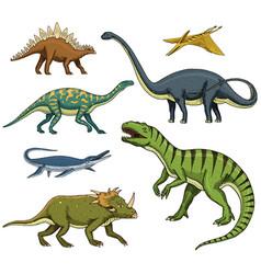 dinosaurs set tyrannosaurus rex triceratops vector image vector image