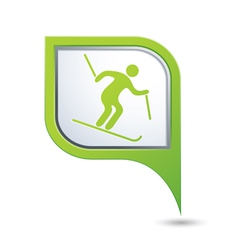 Downhill skiing icon green map pointer vector