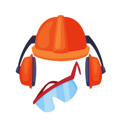 Ear protectors or earmuffs with helmet and vector