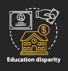 Education disparity chalk concept icon vector
